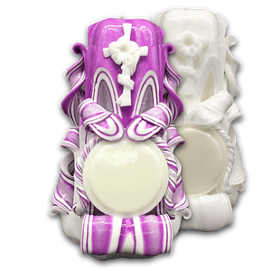 Carved Candles | Floral Cross | ~18cm Personalised Candles Baptism